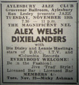 Alex Welsh Dixielanders ad Nov 15