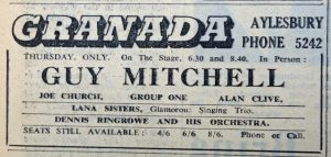 Guy Mitchell Granada 1958 ad