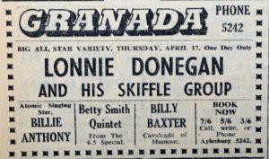 Lonnie Donegan Granada 1958 ad