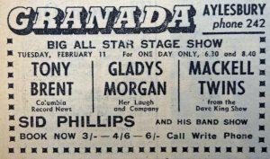 Tony Brent Granada 1958 ad