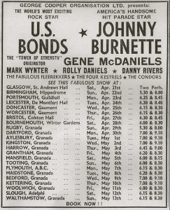 US Bonds tour